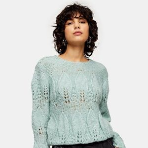 NWT Topshop petal gauzy sweater, size small, mint